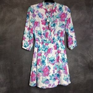 FOREVER 21 | Bright Floral Shirtwaist Dress Size M